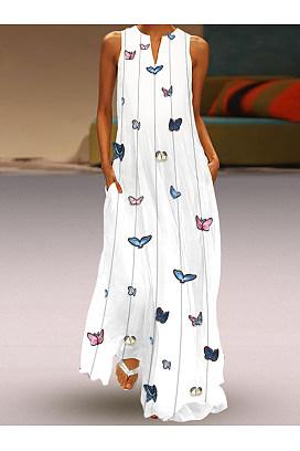 803bc41d94d5 v neck slit printed sleeveless maxi dresses .. $60.00 $20.96. butterfly  printed maxi shift dress