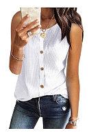 Casual Single-Breasted Sleeveless T-Shirt
