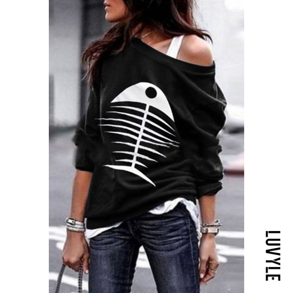 Black Casual Colouring Long Sleeve T-Shirt Black Casual Colouring Long Sleeve T-Shirt