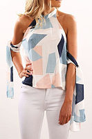 Halter Open Shoulder  Color Block  Blouses
