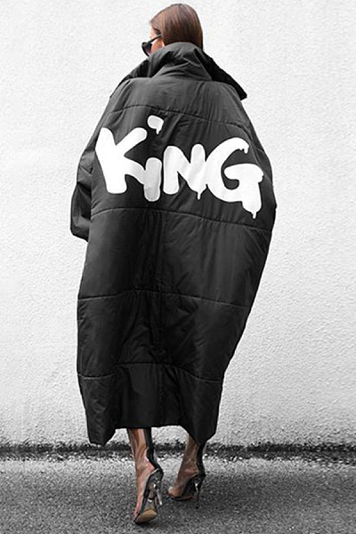 Clothinsstyle Fashion KING Printed Long Cotton Down Coat