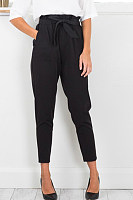 Ruffle Trim Belt Plain High Rise Waist Pants