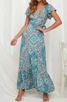 V Neck  Slit  Printed  Short Sleeve Maxi Dresses