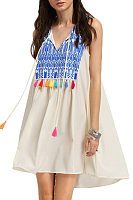 V Neck  Fringe  Patchwork Printed Casual Dresses