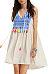 V Neck  Fringe  Patchwork Printed Casual Dresses