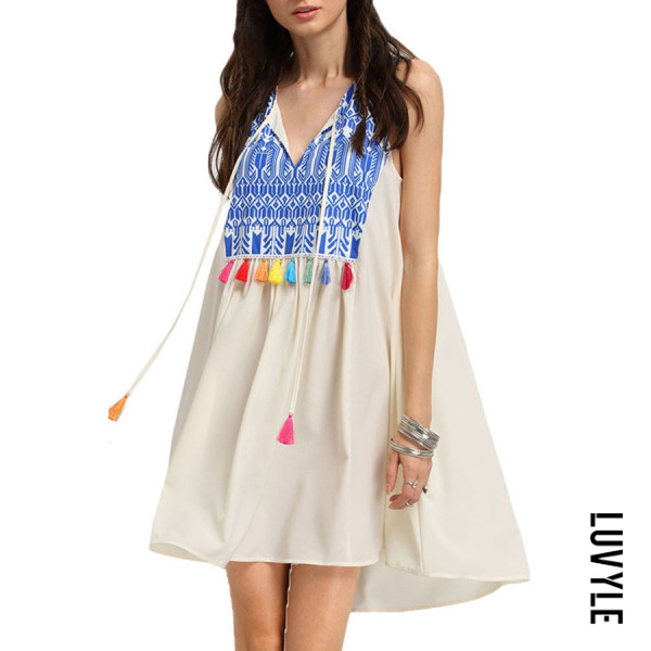 White V Neck Fringe Patchwork Printed Casual Dresses White V Neck Fringe Patchwork Printed Casual Dresses