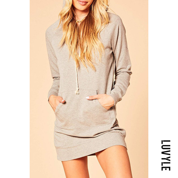 Gray Hooded Drawstring Kangaroo Pocket Bodycon Dresses Gray Hooded Drawstring Kangaroo Pocket Bodycon Dresses