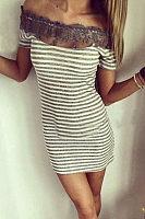 Open Shoulder  Decorative Lace  Striped Bodycon Dresses