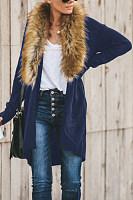 Faux Fur Collar  Loose Fitting  Plain Outerwear
