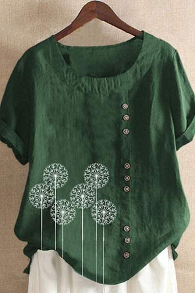 Casual Dandelion Print Short Sleeve Blouse