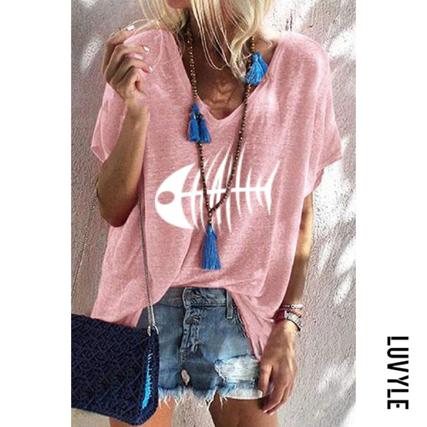 Pink V Neck Printed T-Shirts Pink V Neck Printed T-Shirts