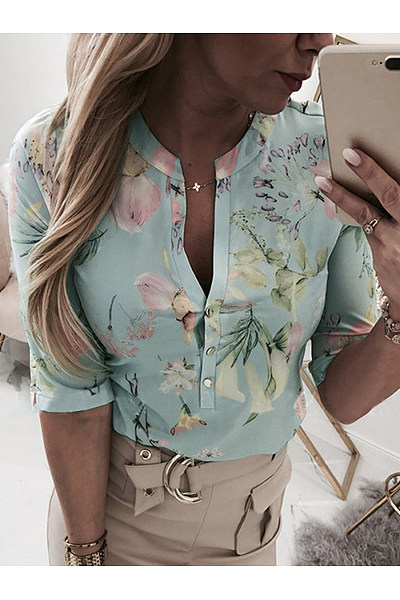 Casual V Neck Halflong Sleeve Single-Breasted Printed Colour Blouse