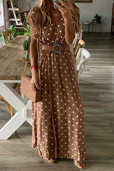 Casual V Neck Polka Dot Short Sleeve Maxi Dress in tan