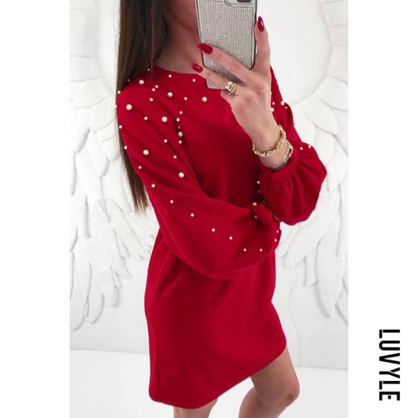 Casual round neck solid color knitted puff sleeve dress - from $20.00