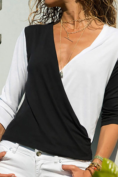 Casual V Neck Contrast Color T-Shirts