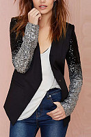 Turn Down Collar  Slit Pocket  Contrast Stitching Glitter  Gradient Blazers