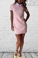 Turn Down Collar  Plain Casual Dresses