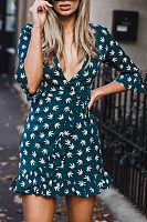 Deep V-Neck Ruffled Flared Sleeve Print Bodycon Dresses