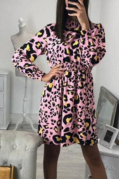 High Neck  Printed  Long Sleeve Skater Dresses