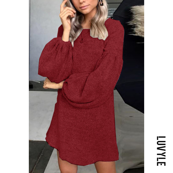 Claret Red Round Neck Plain Lantern Sleeve Long Sleeve Casual Dresses Claret Red Round Neck Plain Lantern Sleeve Long Sleeve Casual Dresses