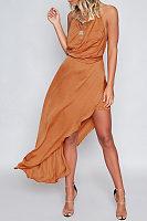Halter  Asymmetric Hem Backless  Plain Maxi Dresses