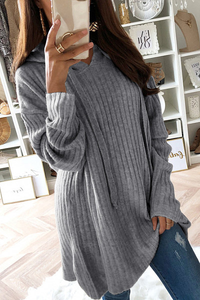 Hooded  Drawstring  Plain Sweaters