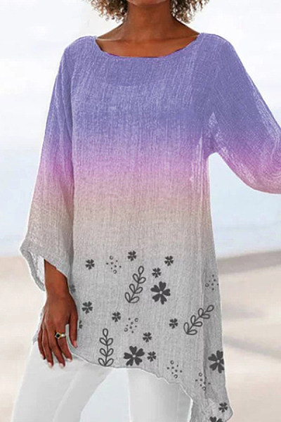Gradient printed irregular hem long sleeve blouse