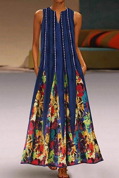 Vintage Printed V Neck Dress
