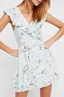 Surplice  Belt  Floral Printed  Short Sleeve Casual Dresses