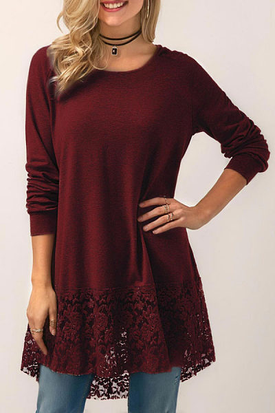 Hooded Round Neck  Hollow Out Plain T-Shirts