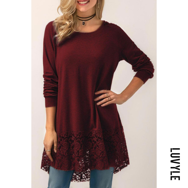 Claret Red Hooded Round Neck Hollow Out Plain T-Shirts Claret Red Hooded Round Neck Hollow Out Plain T-Shirts
