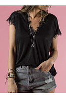 V Neck Lace Patchwork Short Sleeve T-Shirts