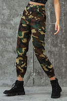 Fashion Camouflage Pattern Pockets Button Pants