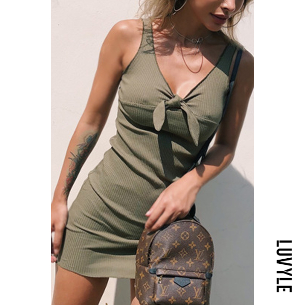 Army Green Spaghetti Strap Backless Bowknot Plain Sleeveless Bodycon Dresses Army Green Spaghetti Strap Backless Bowknot Plain Sleeveless Bodycon Dresses