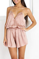 Spaghetti Strap V Neck  Backless  Plain  Sleeveless Playsuits