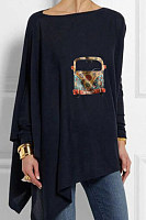 Round Neck Print Causal Loose Fitting Long Sleeve T-shirt