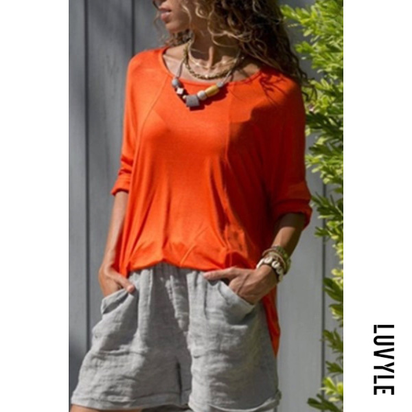 Orange Round Neck Loose Fitting T-Shirts Orange Round Neck Loose Fitting T-Shirts