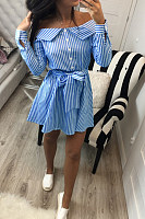 Off Shoulder  Belt  Striped  Long Sleeve Casual Dresses