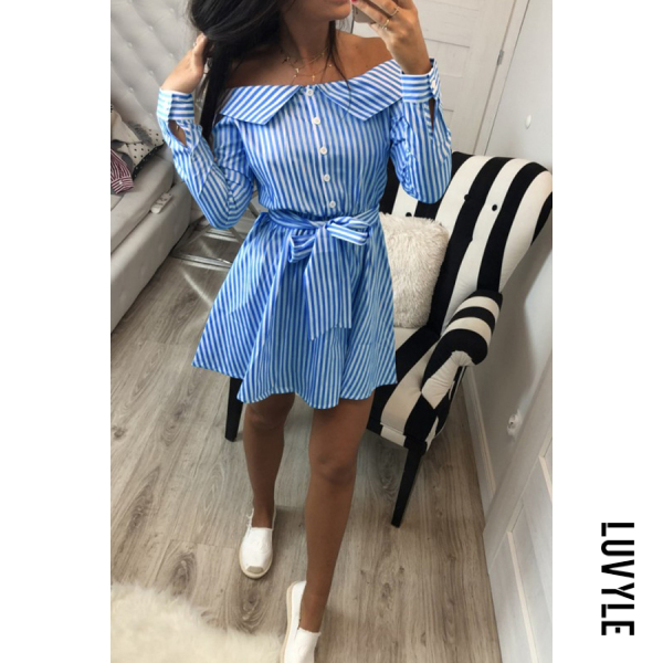 Blue Off Shoulder Belt Striped Long Sleeve Casual Dresses Blue Off Shoulder Belt Striped Long Sleeve Casual Dresses