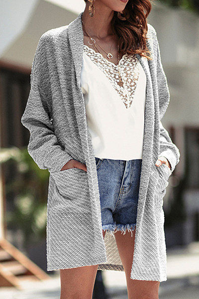 Mid-Length Twill Knit Cardigan