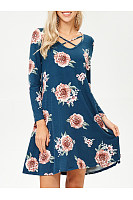 V-Neck Floral Printed Pocket Shift Dress