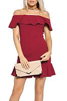 Off Shoulder  Ruffle Trim  Plain  Short Sleeve Bodycon Dresses