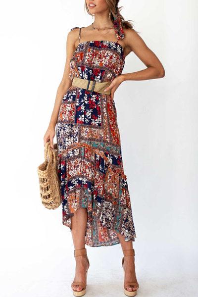 Spaghetti Strap  Asymmetric Hem  Bohemian  Sleeveless Maxi Dresses