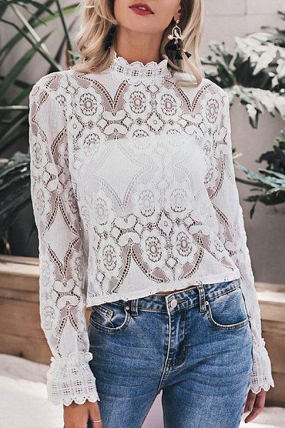 Fashion Sweet Long Sleeve Lace Blouse