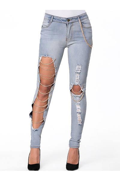 Cutout Chain Ripped  Slim-Leg  Mid-Rise Jeans