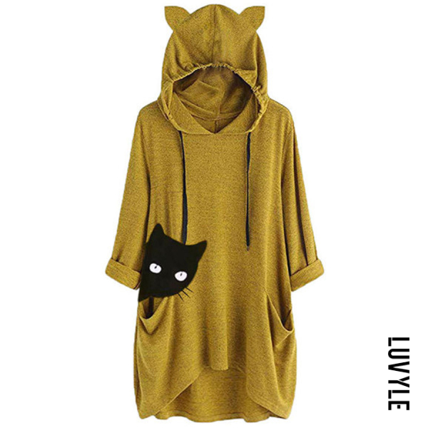 Yellow Knitted Cat Print Long-sleeved Irregular Hoodie Yellow Knitted Cat Print Long-sleeved Irregular Hoodie