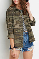 Turn Down Collar  Asymmetric Hem Single Breasted  Camouflage Shirts