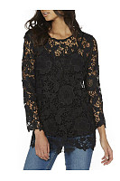 Lace Hollow Out Solid Round Neck Blouse