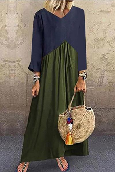 V Neck Long Sleeve Color Block Maxi Dress
