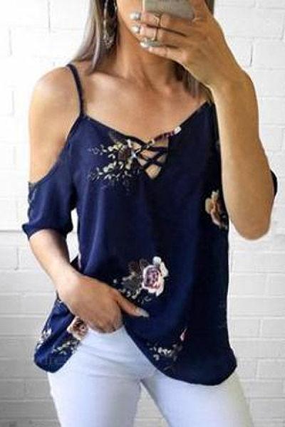 sexy strapless cross strap female t-shirt